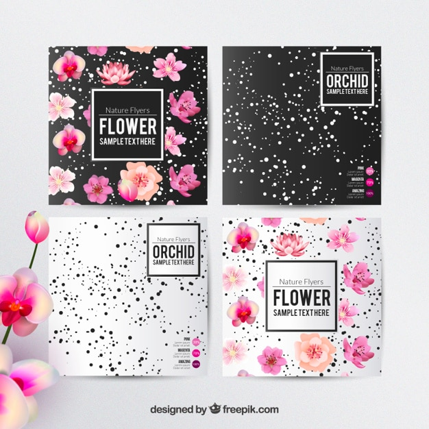 Floral flyers template Free Vector