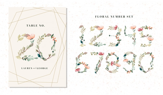 Floral and foliage watercolor numbers from 0 to 9 set Premium Vector
