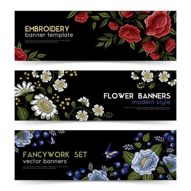 Floral folk embroidery banners set Free Vector
