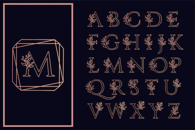 Floral font outline san serif wedding logo beautiful Premium Vector