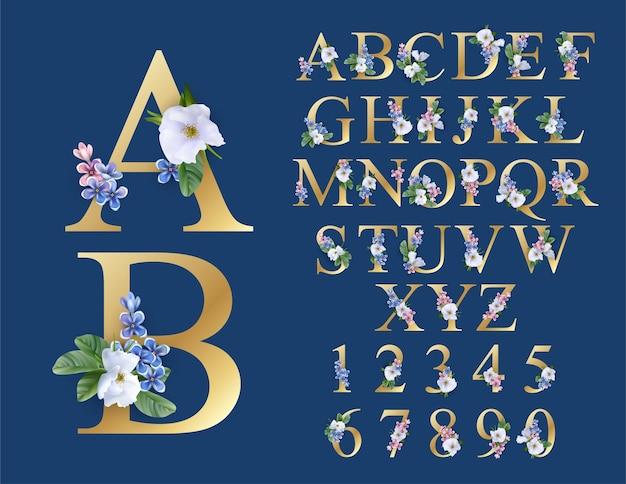 Floral font wedding alphabet initials