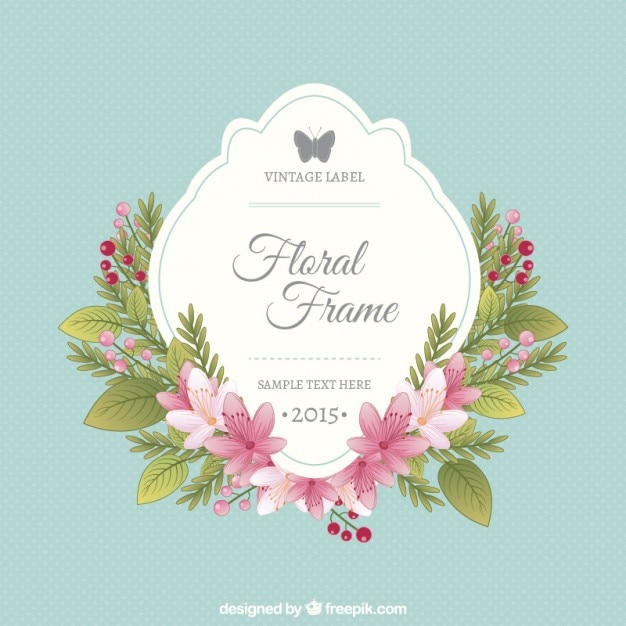 Floral frame and vintage label Vector   Free Download