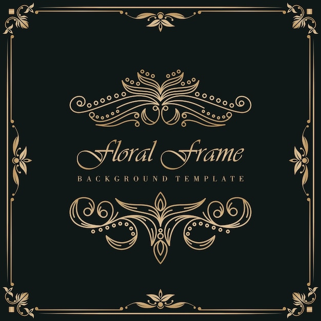 Floral frame background template Premium Vector