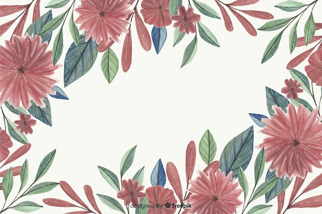 Floral frame background in watercolor Free Vector