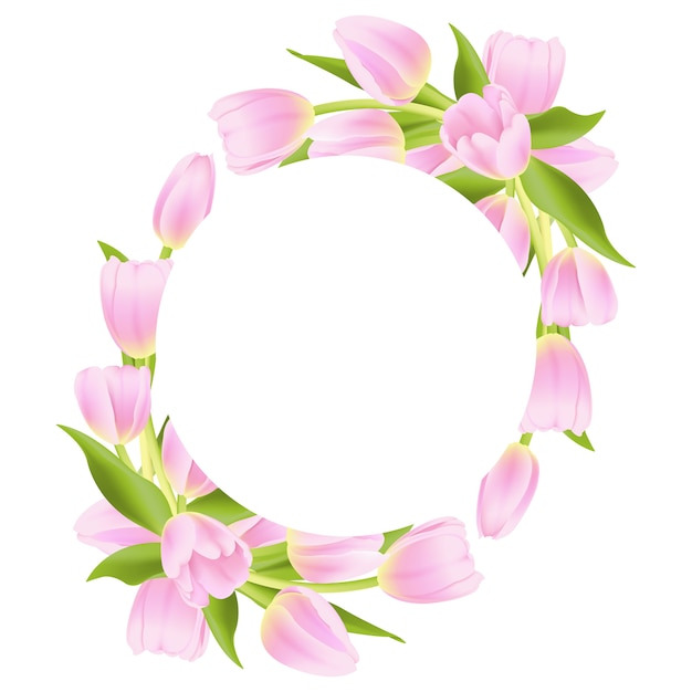 Floral frame background with pink tulip Premium Vector