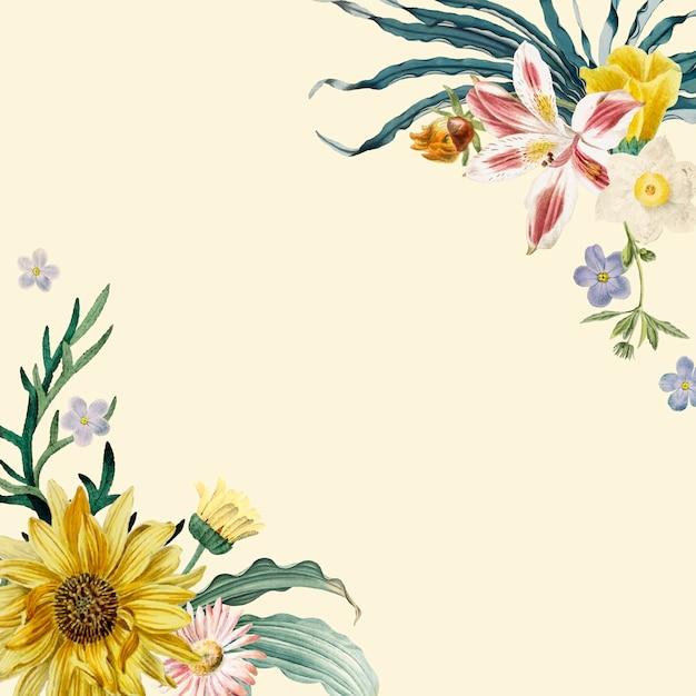 Floral Frame Background Vector Free Download