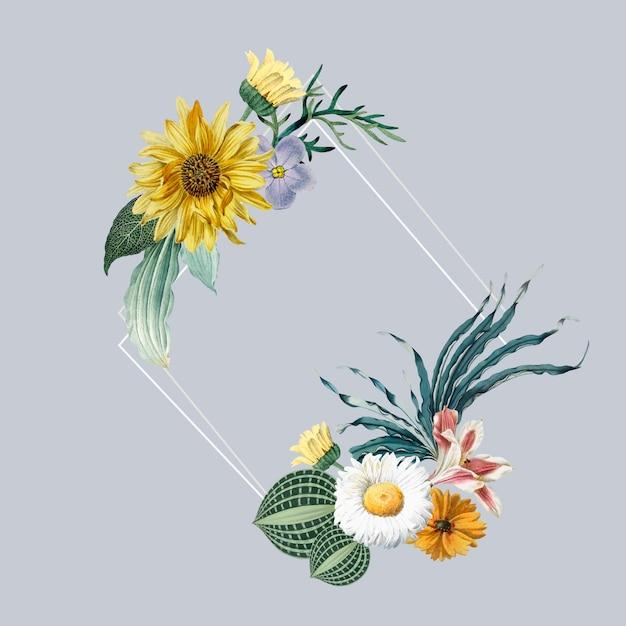 Floral frame badge Free Vector