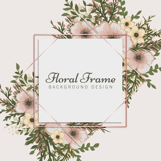 Floral frame  beige border with flowers Premium Vector