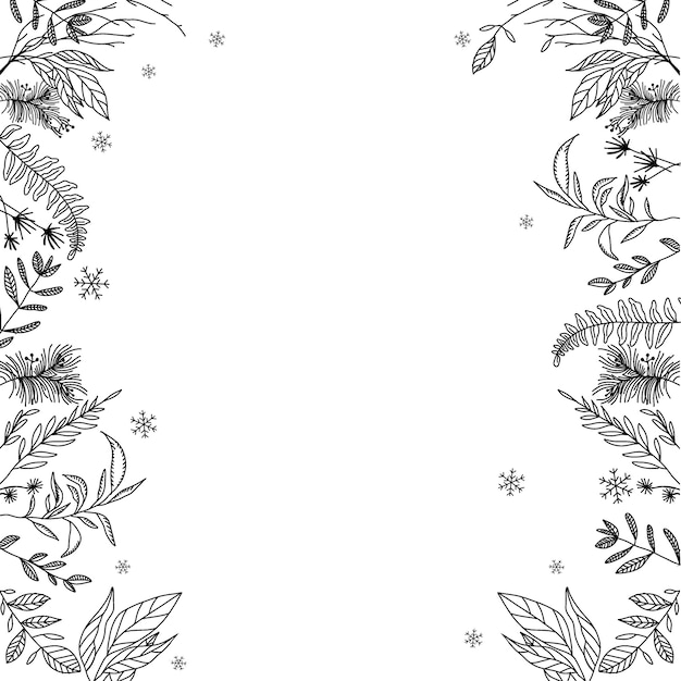 A Floral Frame Black And White Vector Premium Download