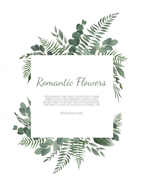 Floral  frame border with copy space. Premium Vector
