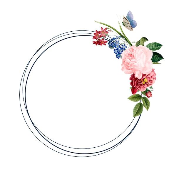 Floral frame card design illustration Free Vector