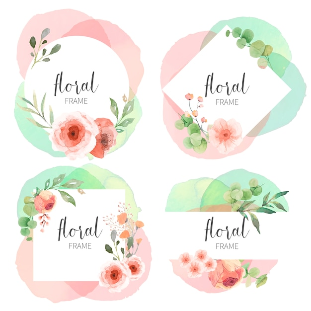 Floral frame collection with watercolor splashes Free Vector