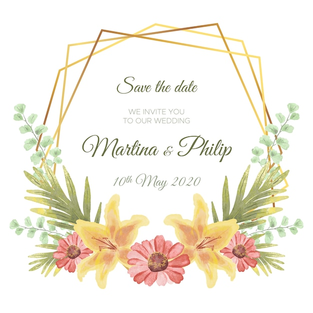Floral frame design for wedding Free Vector