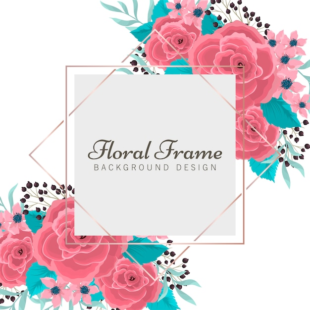 Floral frame flat style Free Vector