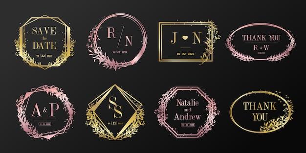 결혼식 모노그램, 브랜딩 로고 및 초대 카드 디자인을위한 꽃 프레임. 무료 벡터