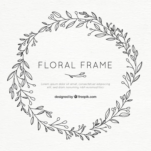 Floral frame in hand drawn style Free Vector