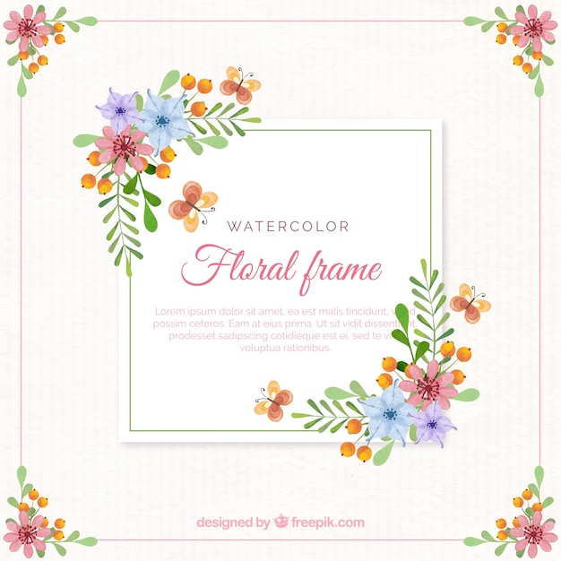 Floral frame in watercolor style Free Vector