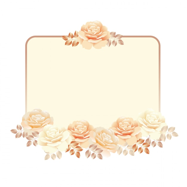 Floral frame for invitation background. pearl color yellow rose vector illustration Premium Vector