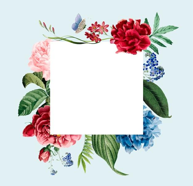 Floral frame invitation card design Free Vector