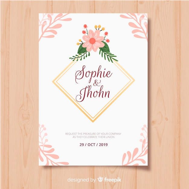 Floral frame invitation card template Free Vector