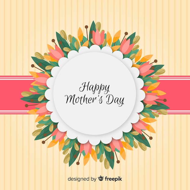Floral frame mother's day background Free Vector