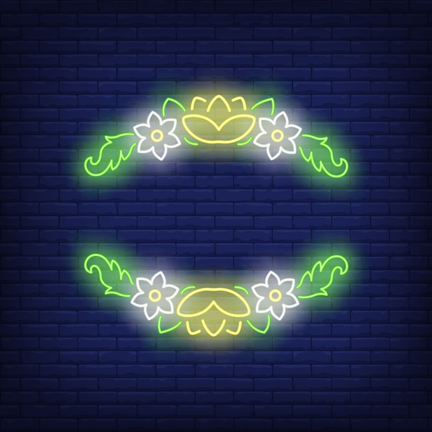 Floral frame neon sign Free Vector
