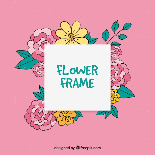 Floral frame on a pink background