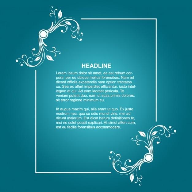 Floral frame on blue background Free Vector
