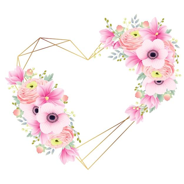 Floral frame ranunculus magnolia and anemone flowers Premium Vector