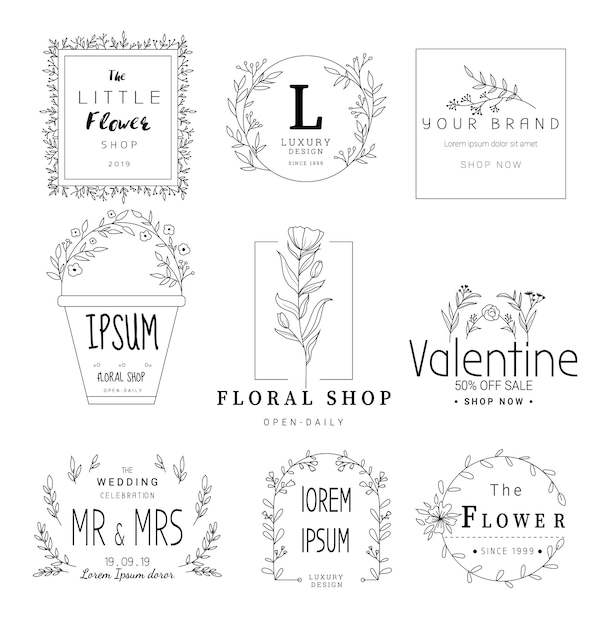Floral frame set for wedding, flower shop, hand drawn style Premium Vector