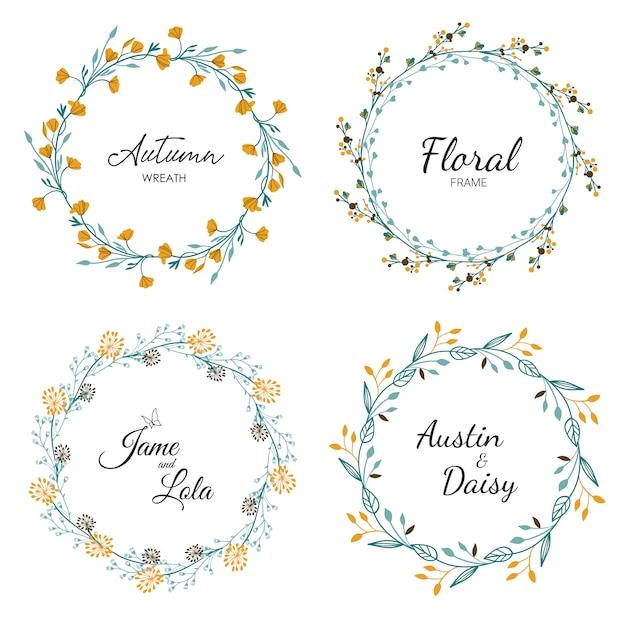 Floral frame set for wedding Premium Vector