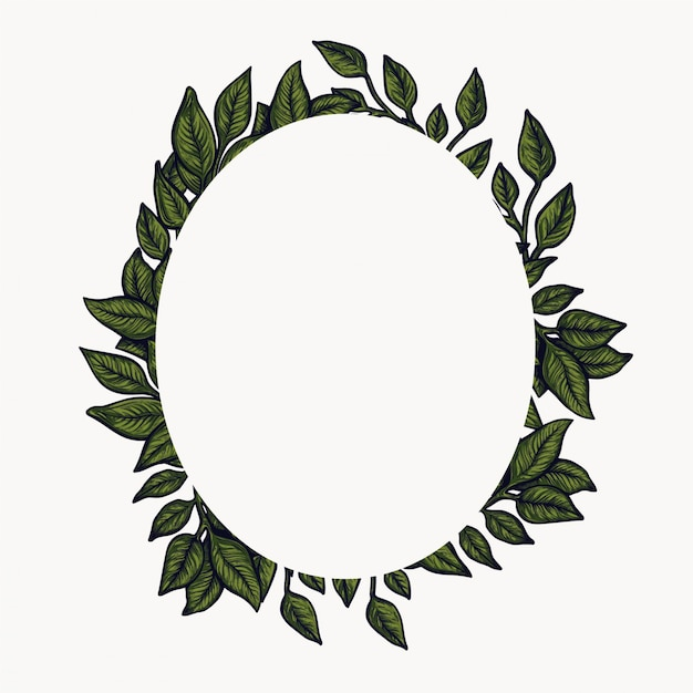 Floral frame. spring foliage composition, flower wreath circle arrangement. Premium Vector