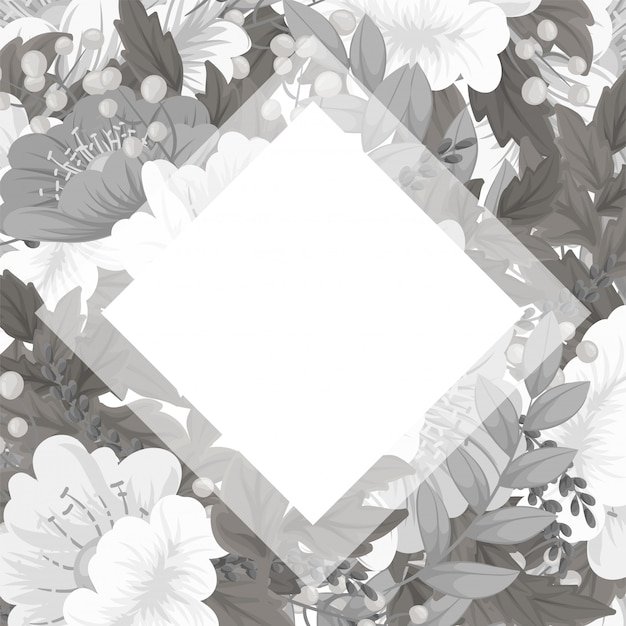Floral frame template - white and black floral card Free Vector