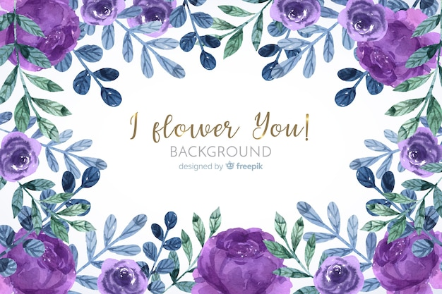 Floral frame in watercolor background Free Vector