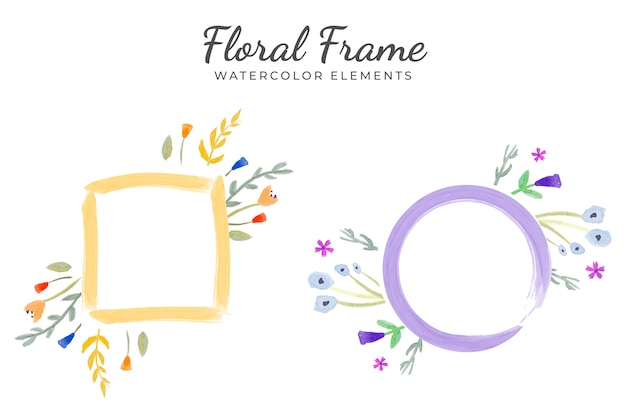 Floral frame watercolor elements Free Vector
