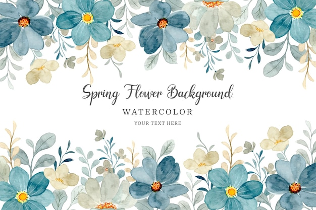 Floral frame watercolor flower abstract background