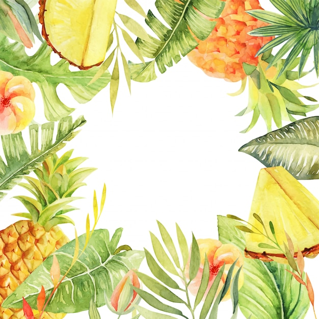 Floral frame of watercolor pineapples, hibiscus flowers, tropical green plants and leaves Premium Vector