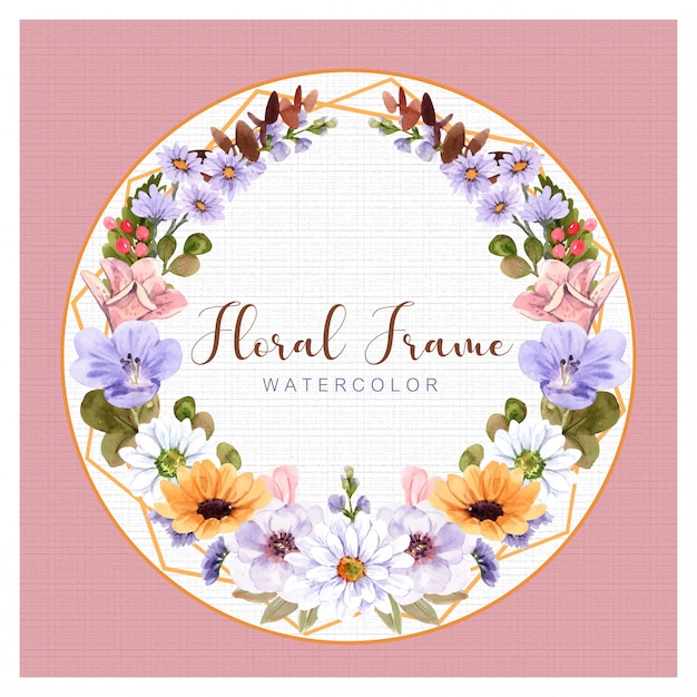 Floral frame watercolor   .