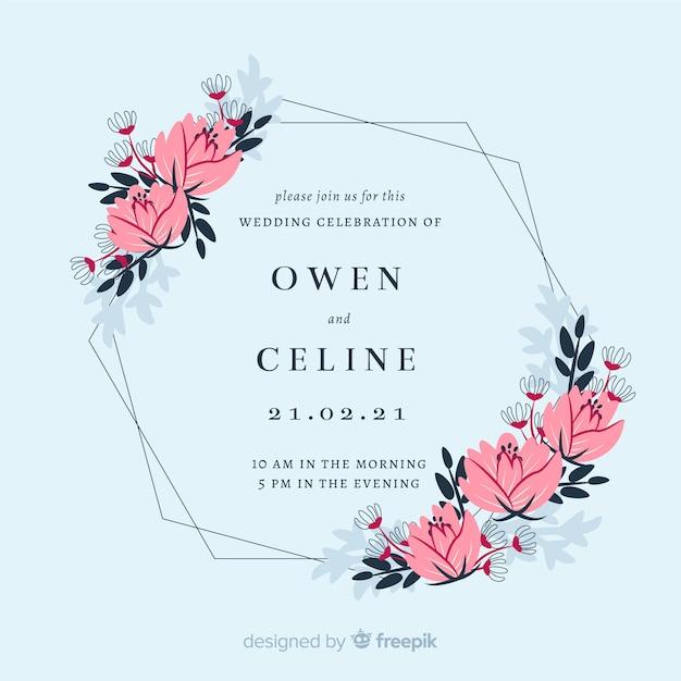 floral frame wedding invitation card vector  free download