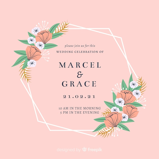 Floral frame wedding invitation card Free Vector