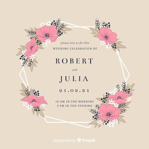 Floral frame wedding invitation card Free Vector