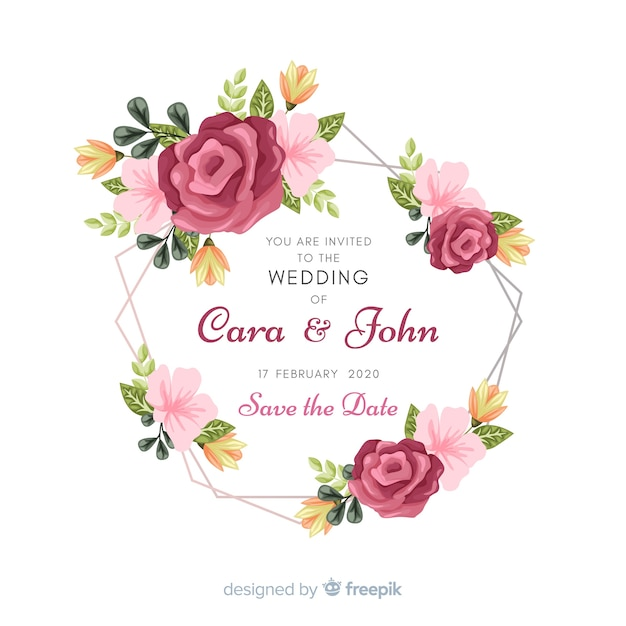 Floral Frame Wedding Invitation Card Vector Free Download