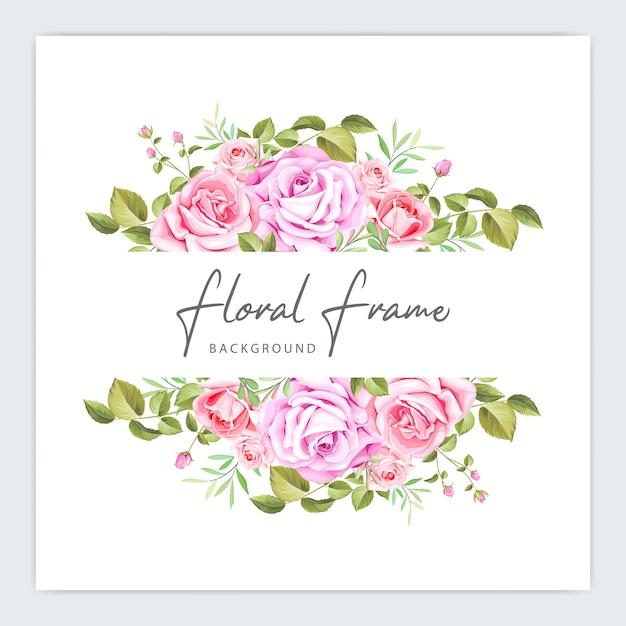 Floral frame wedding invitation template Premium Vector