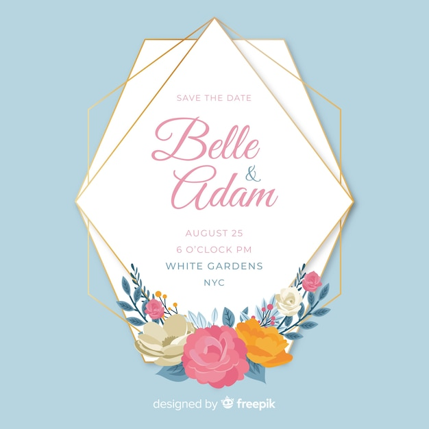 Floral frame wedding invitation template Free Vector