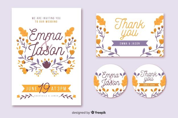 Floral Frame Wedding Invitation Template Vector