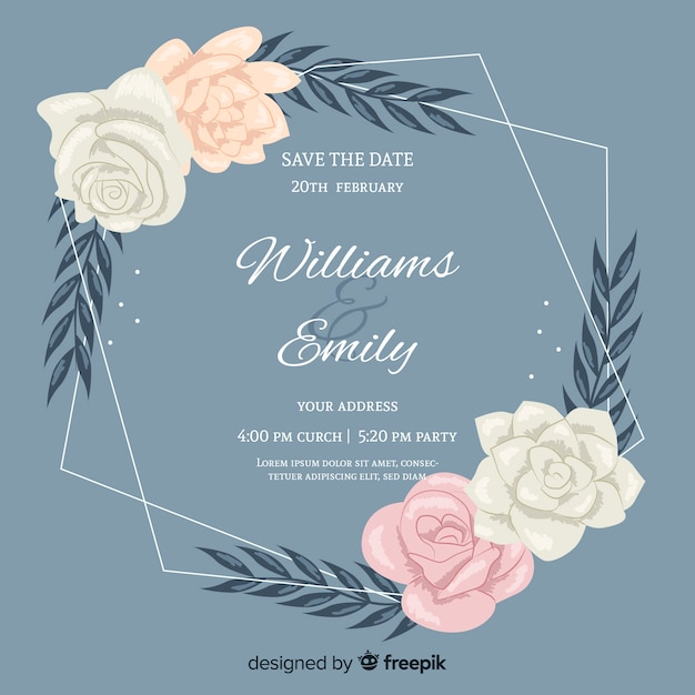 Floral frame wedding invitation with flat design Free Vector