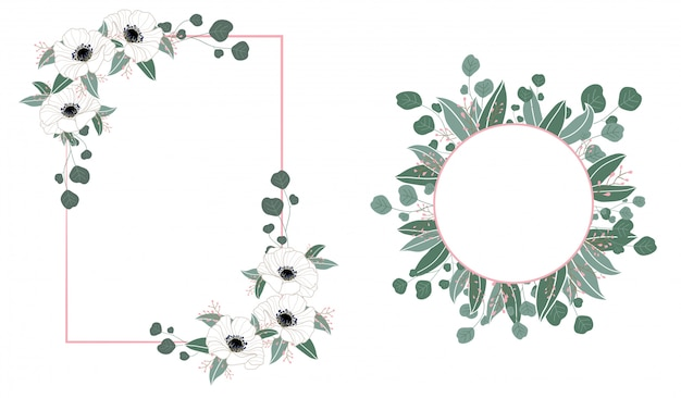 Floral frame wedding invitation with flowers and leaves Premium Vector