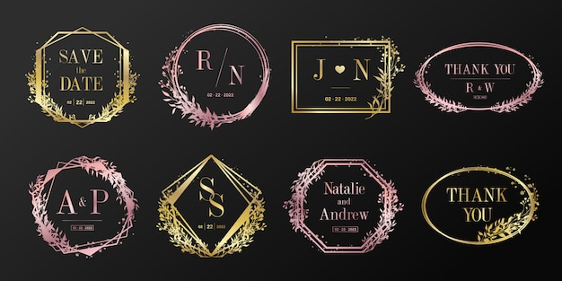 Floral frame for wedding monogram, branding logo and invitation card design. Free Vector