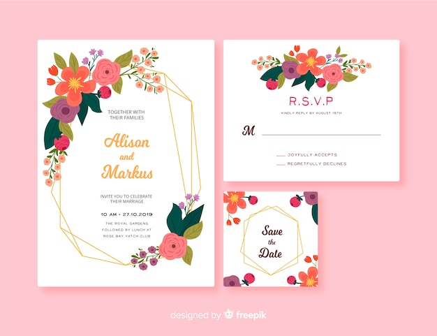 Floral frame wedding stationery template Free Vector