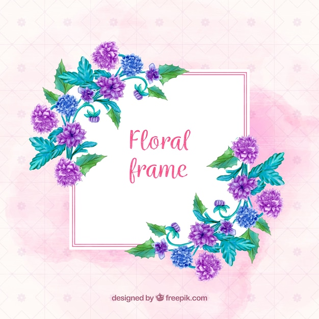 Floral frame with blue and purple flowers